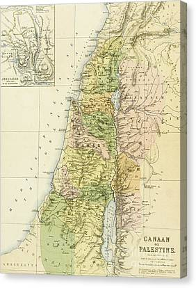 Map Of Canaan Or Palestine Canvas Print by English School
