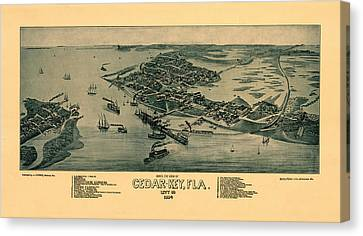 Map Of Cedar Key 1884 Canvas Print by Andrew Fare