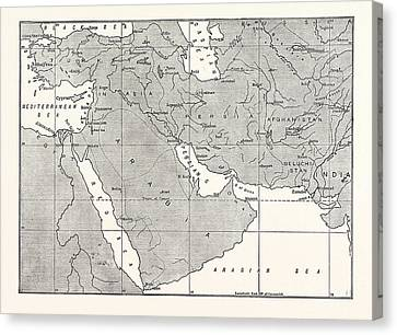 Map Of Central Asia Canvas Print by American School