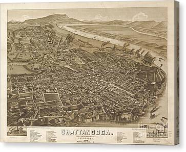 Map Of Chattanooga, County Seat Of Hamilton County, Tennessee 1886 Canvas Print