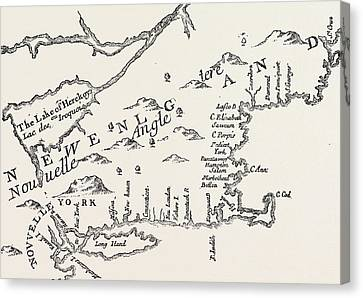Map Of Colonial New England Canvas Print by American School