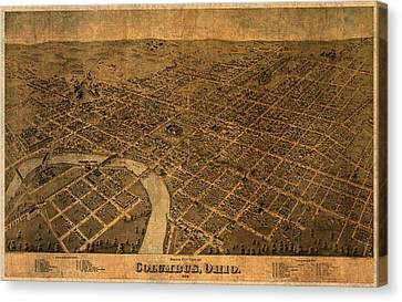 Map Of Columbus Ohio Vintage Street Schematic Birds Eye View On Worn Parchment Canvas Print by Design Turnpike