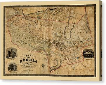 Map Of Dundas 1851 Canvas Print