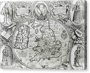 Map Of England During The Reign Of Queen Elizabeth I, 1590  Canvas Print by Jodocus Hondius