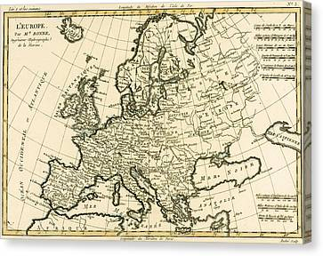 Map Of Europe Canvas Print by Guillaume Raynal