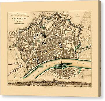 Map Of Frankfurt 1853 Canvas Print by Andrew Fare