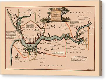 Map Of Gambia 1745 Canvas Print by Andrew Fare