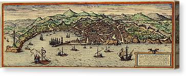 Map Of Genoa 1572 Canvas Print