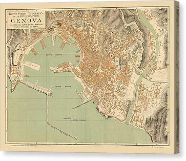 Map Of Genoa 1910 Canvas Print