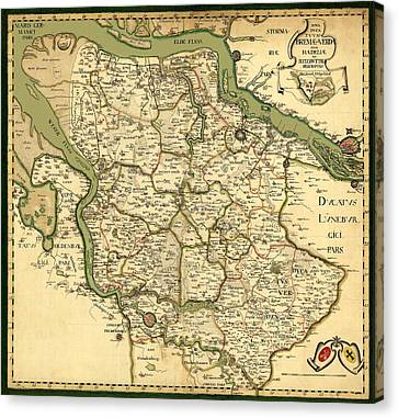 Map Of Germany 1750 Canvas Print by Andrew Fare
