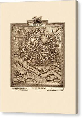 Map Of Hamburg 1803 Canvas Print by Andrew Fare