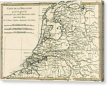 Map Of Holland Including The Seven United Provinces Of The Low Countries Canvas Print by Guillaume Raynal
