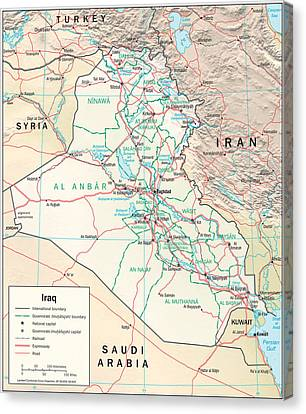 Map Of Iraq Canvas Print by Roy Pedersen