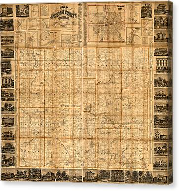 Jackson Canvas Print - Map Of Jackson County Michigan 1858 by Design Turnpike