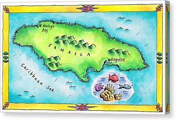 Map Of Jamaica Canvas Print by Jennifer Thermes