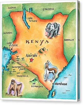 Map Of Kenya Canvas Print by Jennifer Thermes