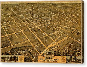 Map Of Lexington Kentucky Vintage Birds Eye View Aerial Schematic On Old Distressed Canvas Canvas Print