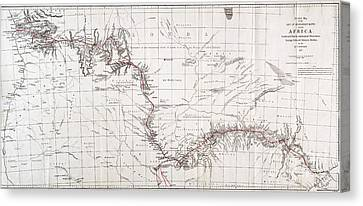 Map Of Livingstones Route Across Canvas Print