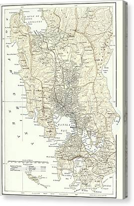 Map Of Manila, Philippines And The Seat Of War During The Spanish-american War Of 1898 Canvas Print