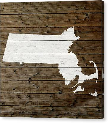 Massachusetts Canvas Print - Map Of Massachusetts State Outline White Distressed Paint On Reclaimed Wood Planks by Design Turnpike