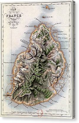 Map Of Mauritius Canvas Print by Dyonnet