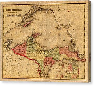 Map Of Michigan Upper Peninsula And Lake Superior Vintage Circa 1873 On Worn Distressed Canvas  Canvas Print by Design Turnpike