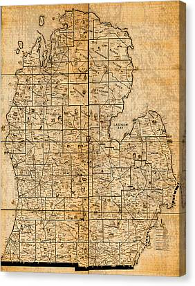 Old Canvas Print - Map Of Michigan Vintage Railroad Train Routes Hand Drawn On Worn Distressed Old Canvas by Design Turnpike