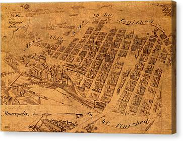 Map Of Minneapolis Minnesota Vintage Birds Eye View Aerial Schematic On Old Distressed Canvas Canvas Print by Design Turnpike