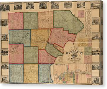 Monroe Canvas Print - Map Of Monroe County Michigan 1859 by Design Turnpike
