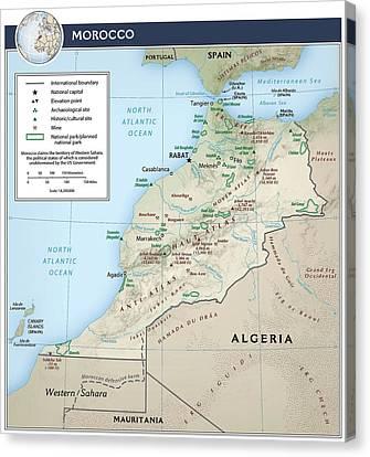 Rabat Canvas Print - Map Of Morocco 2 by Roy Pedersen