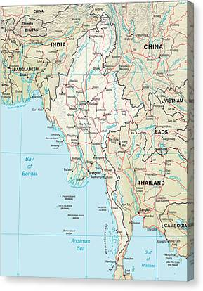Thailand Canvas Print - Map Of Myanmar by Roy Pedersen