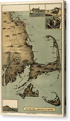 Map Of Nantucket Boston 1885 Canvas Print by Andrew Fare