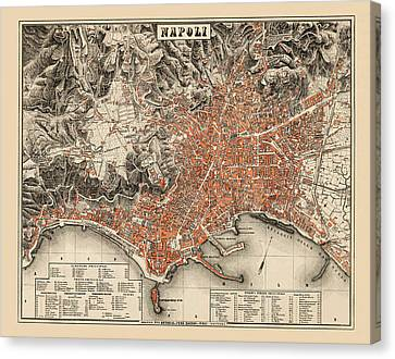 Map Of Naples 1860 Canvas Print by Andrew Fare