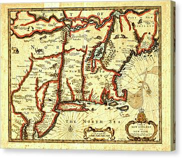 Map Of New England And New York 1676 Canvas Print