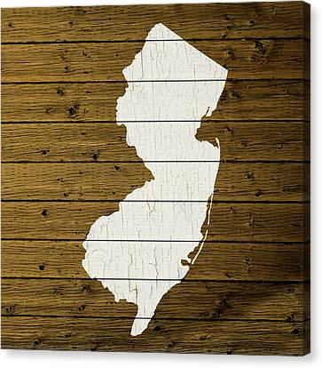 Map Of New Jersey State Outline White Distressed Paint On Reclaimed Wood Planks Custom Brown Canvas Print