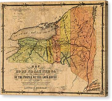 Map Of New York State Showing Original Indian Tribe Iroquois Landmarks And Territories Circa 1720 Canvas Print by Design Turnpike