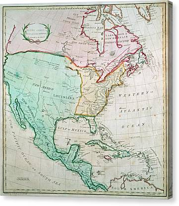 Map Of North America Canvas Print by English School