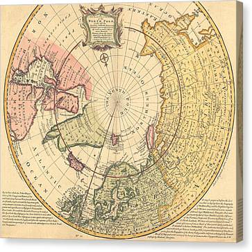 Map Of North Pole Canvas Print by Emanuel Bowen