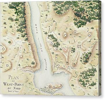 Map Of North West Point Va Canvas Print by F Dubourg