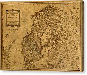 Norway Canvas Print - Map Of Norway Sweden Denmark And Scandinavia Circa 1794 On Worn Distressed Parchment by Design Turnpike