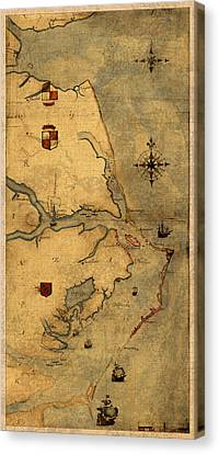 Map Of Outer Banks Vintage Coastal Handrawn Schematic On Parchment Circa 1585 Canvas Print by Design Turnpike