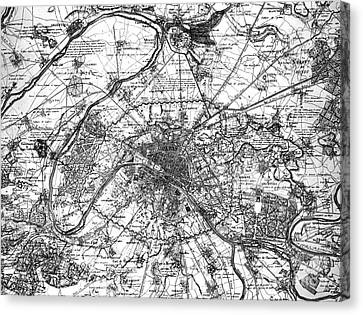 Map Of Paris And The Outskirts In 1840 Canvas Print