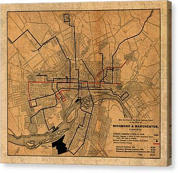 Map Of Richmond Virginia Vintage Street Car Railway Schematic From 1901 On Worn Distressed Canvas Canvas Print by Design Turnpike