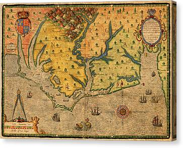 Map Of Roanoke Virginia Lost Colony 1585 Vintage Schematic Of Ocean Coast On Worn Parchment Canvas Print by Design Turnpike