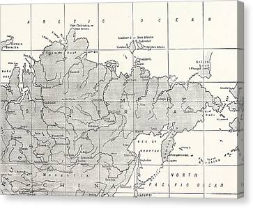 Map Of Siberia And Part Of China Canvas Print