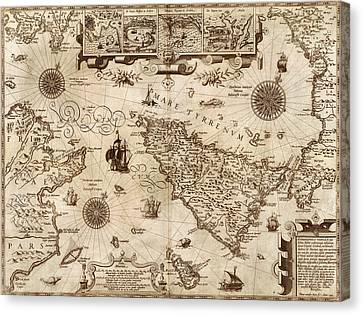Map Of Sicily 1594 Canvas Print