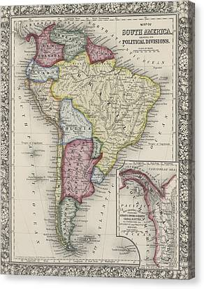 Map Of South America Canvas Print by Samuel Augustus Mitchell