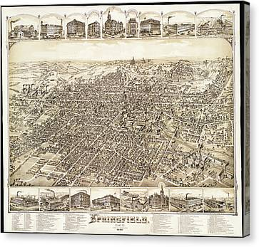 Map Of Springfield Ohio 1884 Canvas Print by Mountain Dreams