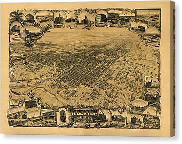 Map Of Stockton 1895 Canvas Print by Andrew Fare