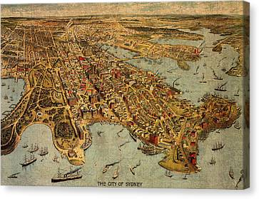 Map Of Sydney Australia Vintage Birds Eye View Schematic Circa 1888 On Worn Parchment Canvas Print by Design Turnpike